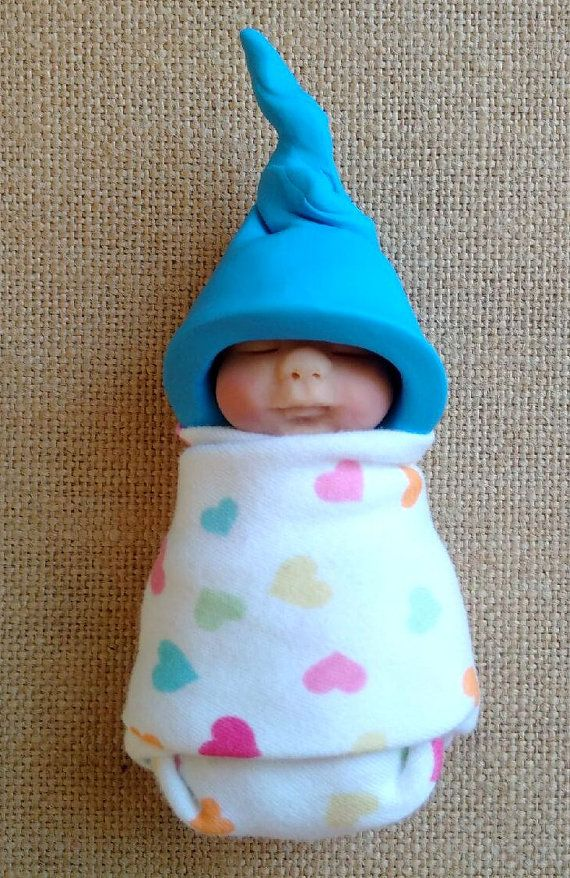 Arcilla BABY: Bebé dormir azul sombrero de elfo corazones
