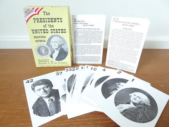Presidents of the US quiz cards from George Washington to Bill