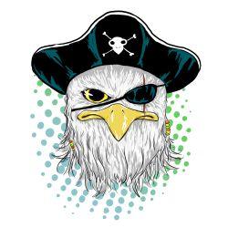 kaos dengan desain klasik bergambarkan ilustrasi hewan dengan gaya seperti tatto/logo klasik. #illustration #art #burung #elang #pirate #Kaos #Desain #Baju #Design #TShirt #Tees #Rupawa