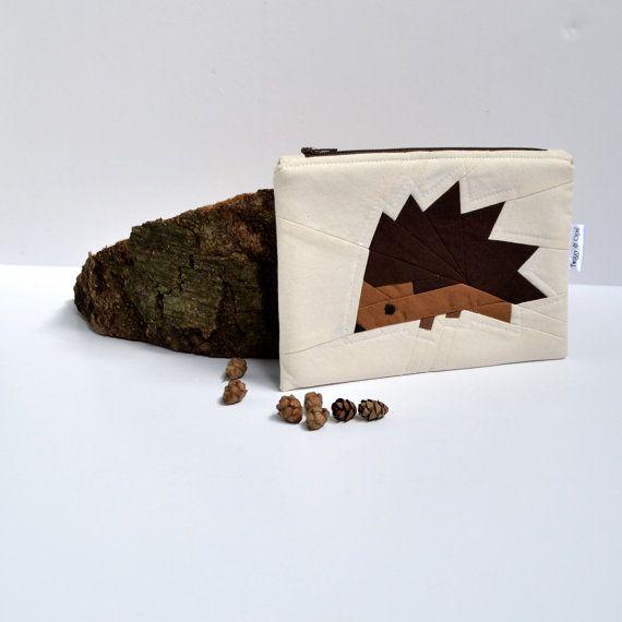 Hedgehog Zipper Pouch Wallet Coin Purse MakeUp by TwiggyandOpal