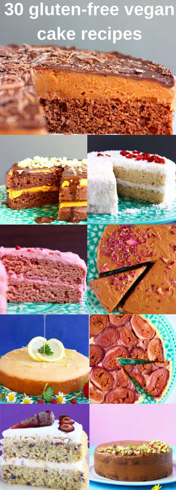 30 Vegan Gluten-Free Cake Recipes! A range of sponge cakes made with fruits (lemon, orange, pineapple, strawberry, blueberry, figs); decadent chocolate cakes (peanut butter chocolate cake, chocolate truffle cake, chocolate mousse cake); others like coconut cake, coffee cake and red velvet cake. Perfect for birthdays. All refined sugar free. #glutenfree #dairyfree #vegan #chocolate #cake #birthday