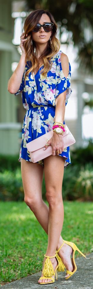 Cobalt Floral Romper Summer Style by Sequins & Things