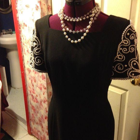 Black Dress With Pearls Pearl Dress Black Dress Dresses