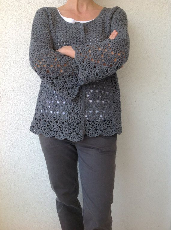This gray cotton cardigan is stylish and practical...  You can use this cardigan in all seasons...    Hand wash in cold water...Lay flat to dry...    Material  100% cotton  100%45 acrylic    Size  Total length of garment:23.6  Armhole opening:8.6  Sleeve length:18  Waist:18.8  Underarm to bottom hem:14.5  Womens size XS/S Made and ready to ship...