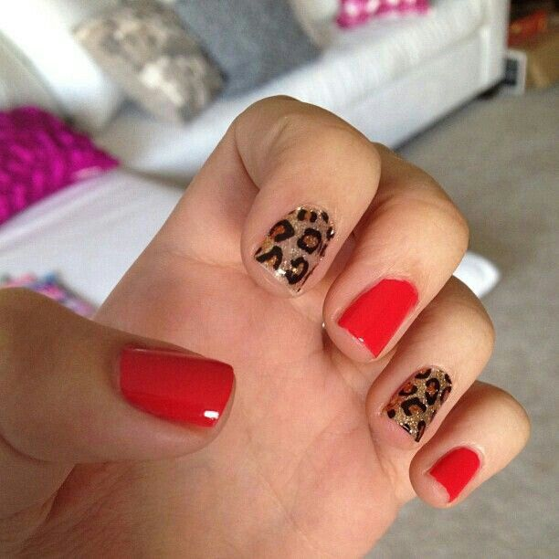 Red Leopard Print Nails Red + leopard ... My h...