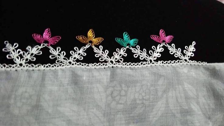 iğne  oyası renkli küçük çiçek yazma kenarı