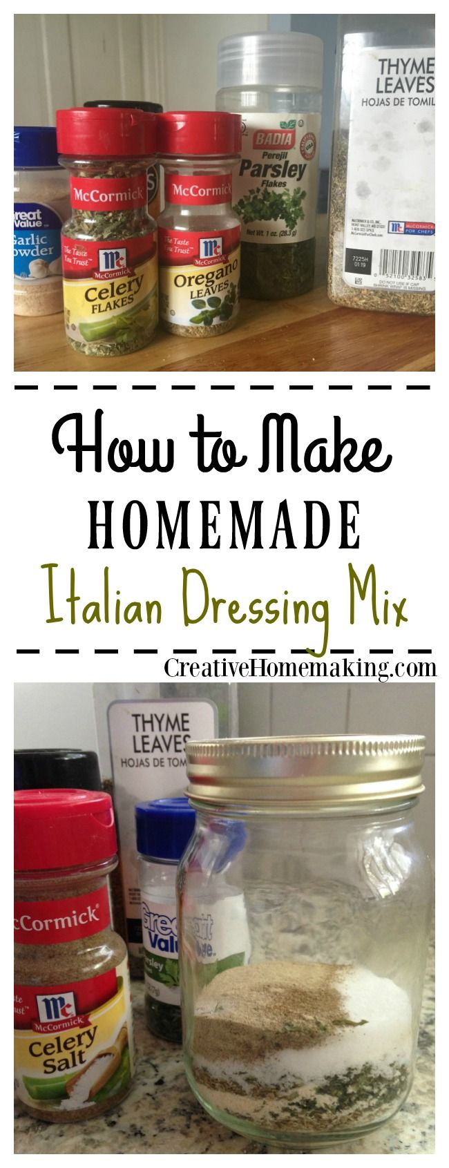 Easy homemade version of Italian seasoning mix. Can be used to make salad dressing or used in other recipes that call for a packet of Italian seasoning mix.