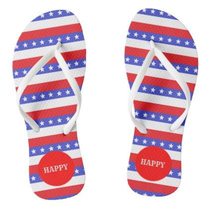 Beautiful Blue Red White Stripes Flip Flops - #customizable create your own personalize diy