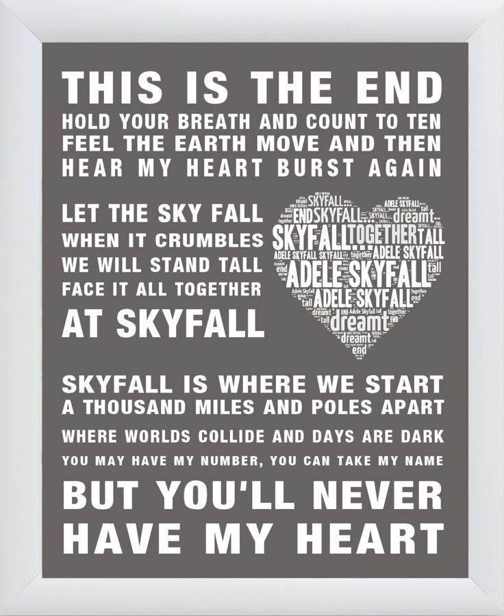 "Christmas Song The Gift Lyrics: ADELE Song Lyrics ""SKYFALL"" Word Art Print/Poster Wall Art"