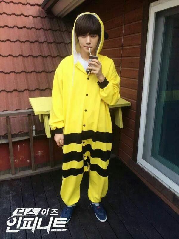 Can we all just take a moment to appreciate the personification of cuteness that is Myungsoo in a pikachu suit   #hotdamn