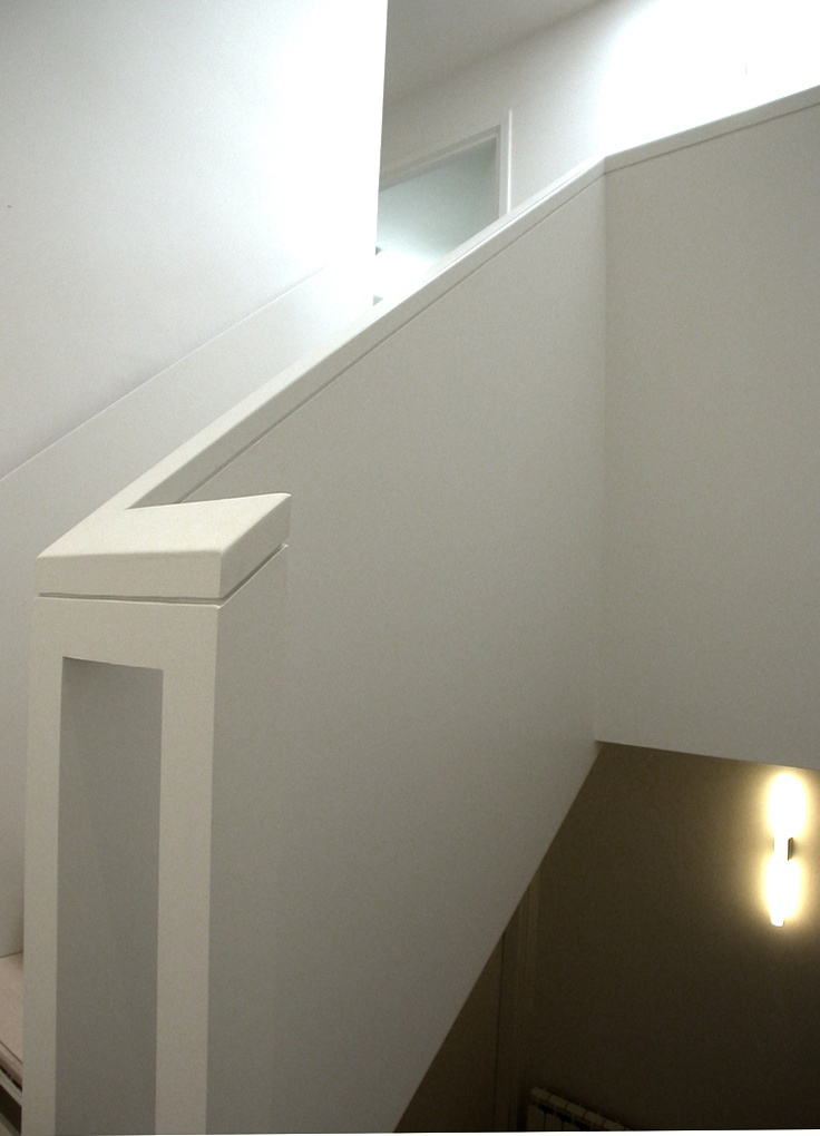 Timber Staircase With Solid Balustrade And Plywood Faced