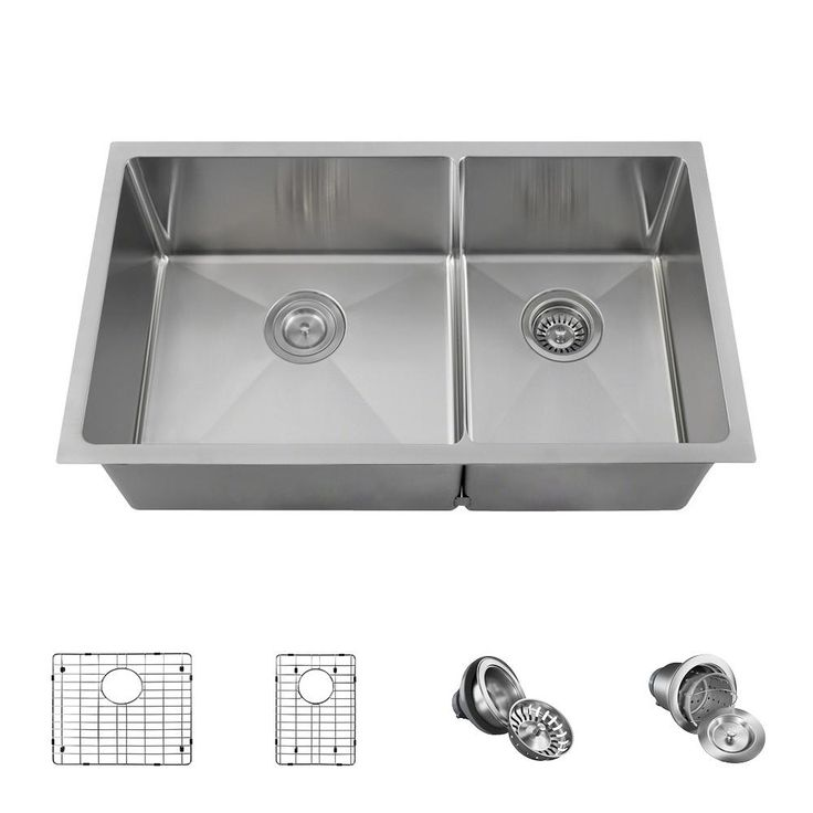 Mr Direct All In One Undermount Stainless Steel 32 In Left Double Bowl Kitchen Sink 3160l 14 Ens Double Bowl Kitchen Sink Sink Apron Sink Kitchen