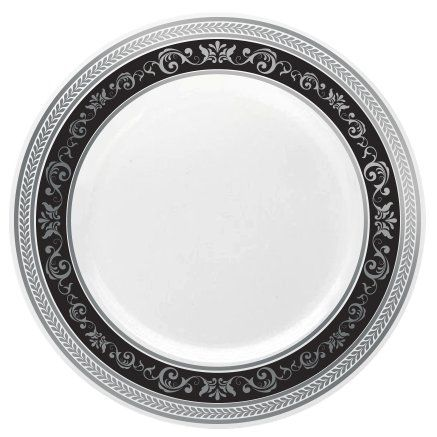 "Posh Setting Royal Collection Combo Pack China Look White, Silver/Black Plastic Plates (Includes 4 Packs of 7.25"" Salad Plates A total of 40 plates) Fancy Disposable Dinnerware #Posh #Setting #Royal #Collection #Combo #Pack #China #Look #White, #Silver/Black #Plastic #Plates #(Includes #Packs #Salad #total #plates) #Fancy #Disposable #Dinnerware"