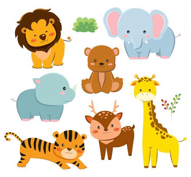 Set Of Cute Cartoon Animals Premium Vect Premium Vector Freepik Vector Baby Design Nature Character Cartoon Animals Cute Wild Animals Cute Cartoon