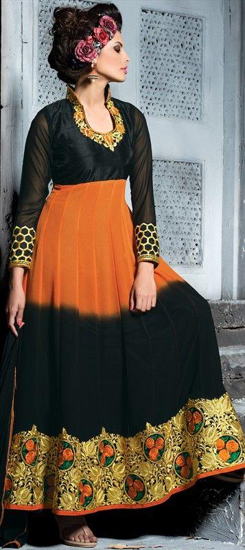 BURN IT! Orange & Black fresh from Brick Fire - Order this style at flat 15% off + free shipping.  #anarkali #bride #wedding #partywear #indianwedding #indianfashion #dualtone #floralembroidery #sale #onlineshopping #colorblock