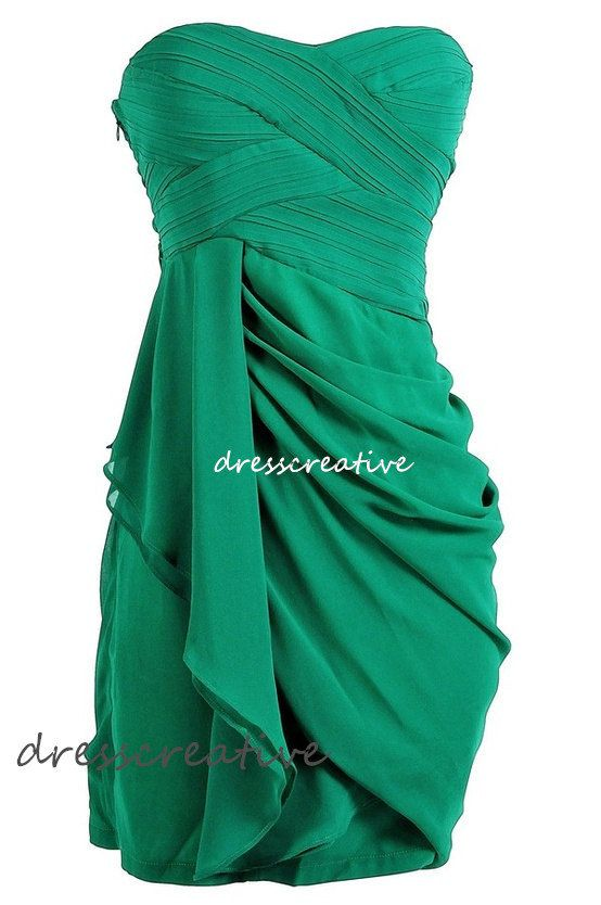 Bridesmaid Dress Green Sweetheart Short Chiffon by DressCreative, $88.00