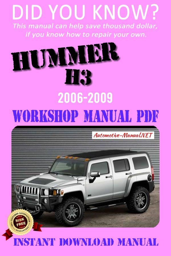 Download Hummer H3 2006 2009 Workshop Manual Pdf Hummer H3 Hummer Manual