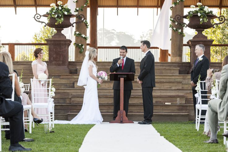 Ronny and Belinda's wedding ceremony in the Grandstand at The Sydney Polo Club