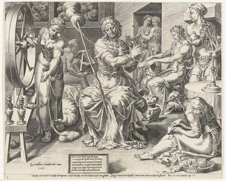 Dirck Volckertsz Coornhert | De Deugdzame vrouw spint, Dirck Volckertsz Coornhert, Maarten van Heemskerck, Cornelis Bos, 1555 | De deugdzame huisvrouw spint wol en linnen. Haar dienstmaagden helpen haar. De prent is gebaseerd op Spreuken 31:12: 'De deugdzame vrouw zoekt wol en linnen uit, en spint en weeft met vreugde'. De afbeelding heeft een Duits onderschrift en maakt deel uit van een zesdelige prentserie die de bezigheden van de deugdzame huisvrouw looft.