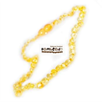 Adults can enjoy wearing baltic amber with this 45 cm long bud amber necklace in lemon colour beads. Match your baby with their Baby bud necklace! Extra lengths are available in 50cm and 55cm.     While Bambeado amber comes in several colours, the colour is just a matter of personal choice. The colours may vary slightly from the images on the website due to variations in the amber beads. Each amber necklace is unique.
