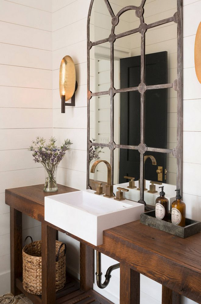 Rustic Powder Room With Wooden Washstand Made Of Reclaimed Oak Shiplap Walls And Brass Sconces Wood Bathroom VanityReclaimed MirrorRustic