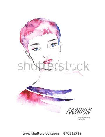 Abstract woman face. Fashion illustration. Watercolor painting @knyshksenya