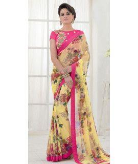 Ravishing Yellow Silk Designer Saree With Blouse.