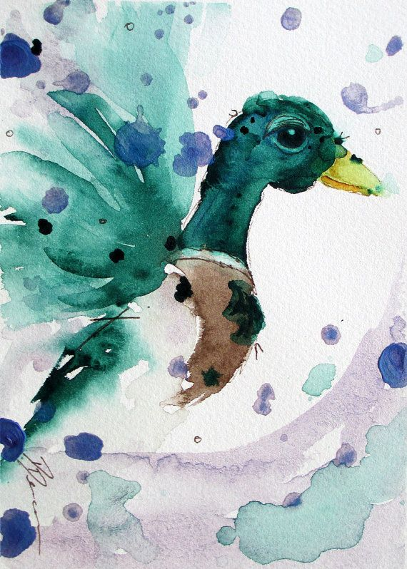 Original Watercolor Print of Mallard Duck Large by dawndermanart $40.00