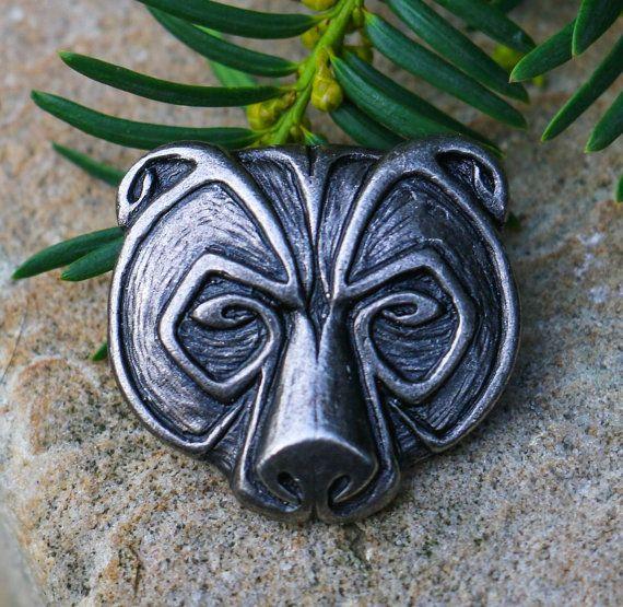 OURS de tête pendentif collier étain étain Grizzly Ursus charme bijou  bijoux bijoux Viking celtique païenne