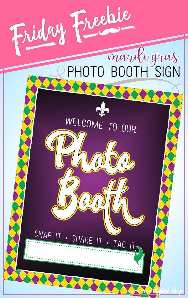 Printable Mardi Gras Sign Freebie Ridgetop Digital Shop Mardi Gras Mardi Gras Photos Photo Booth Sign