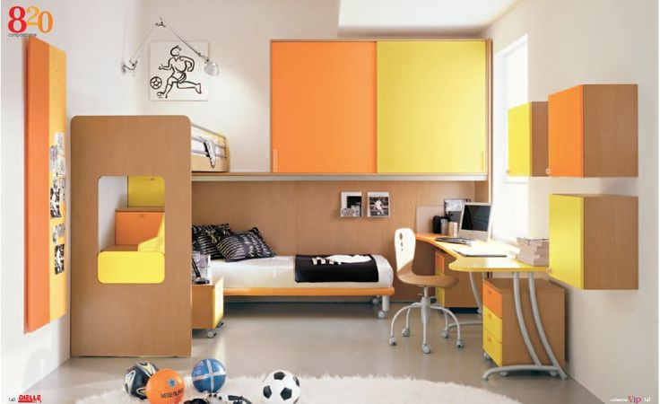 Bright and Modern Kids Room Designs with Furniture Sets from Dielle Sport Themed Yellow and Orange Kids Bedroom for Boys - Dielle Kids Room Design Ideas – Home and Interior Design Ideas | Swiftsorchids