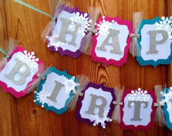 Made to order This is for a banner that reads - LET IT GO This banner was made with quality cardstock. The letters were cut from glittered silver cardstock and mounted on with foam. Snowflakes were also cut from glittered cardstock. Tied together with purple tulle. Each card measures 4.5 by 5.5   Thank you for looking