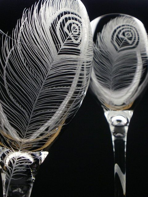 2 Wine Glasses . 'Peacock Feathers' Hand Engraved . Peacock Wedding Wine Glasses