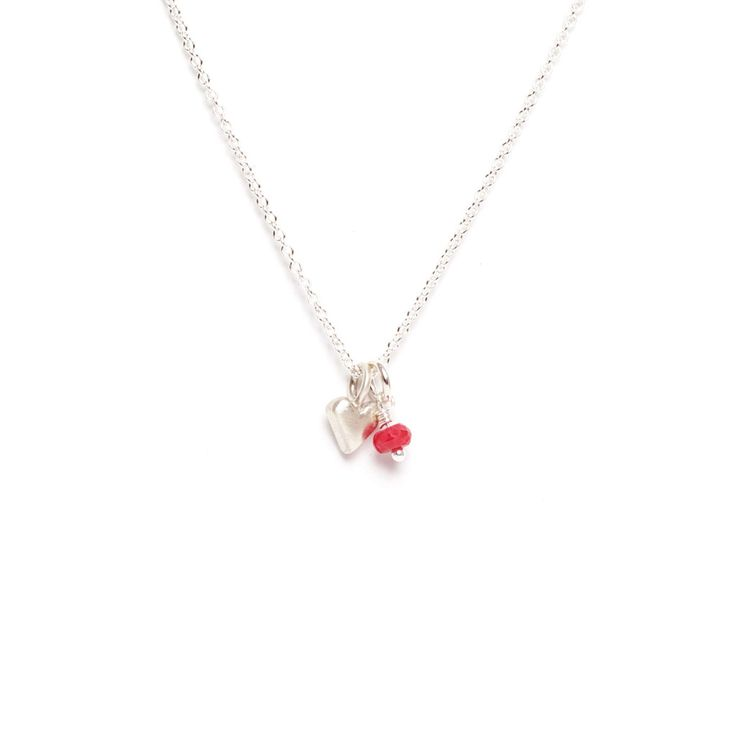Heart Sterling Silver Pendant with Gemstone Necklace by Marmalade Design