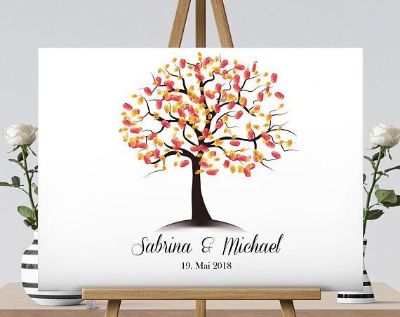 Wedding Tree Leinwand Fingerabdruck Baum Gaste Hochzeit Kinder Etsy Fingerprint Tree Guest Book Alternatives Stretch Canvas
