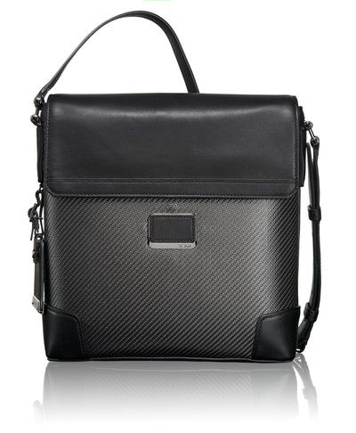 Something like this Tumi messenger bag, but we can incorporate the tartan.