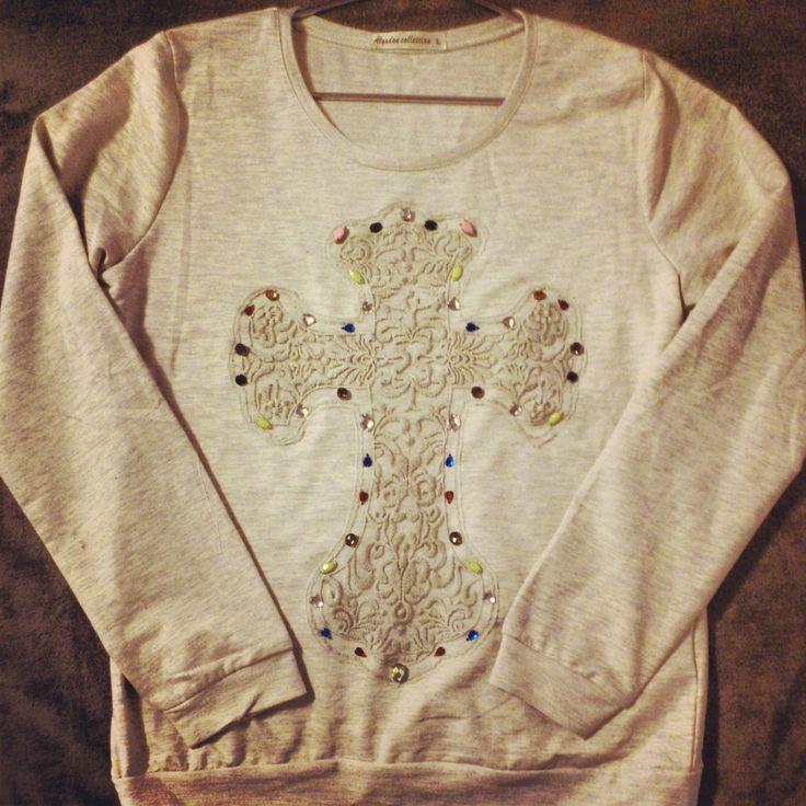 diy handmade blue cute beautiful design shuuforyou designer clothes fashion sweater cross