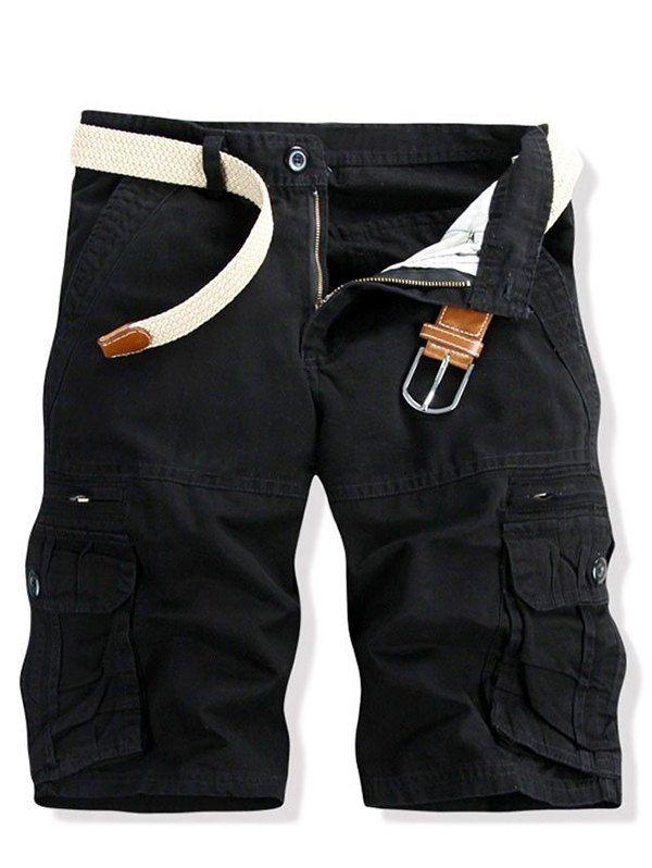 Casual Multi-pockets Solid Color Cargo Shorts For Men In Black,34 | Twinkledeals.com
