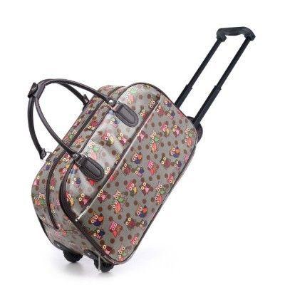 Owl Print Travel Luggage Weekend Bag - Grey and Spots - The Handbag Hut