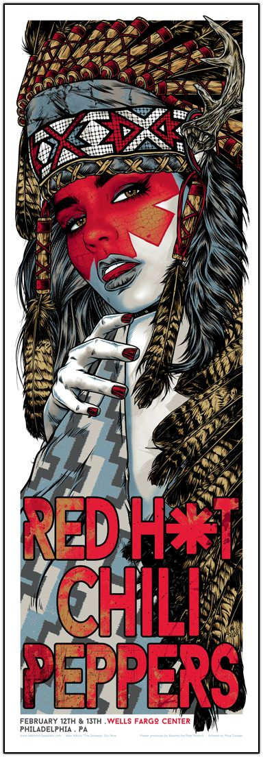 RED HOT CHILI PEPPERS - Rhys Cooper    February 12th and 13th   Wells Fargo Center   Philadelphia, PA    6 colour silkscreen poster.   on heavy 250gsm paper stock, printed with metallic inks.    Edition of 150     12 x 36 inches