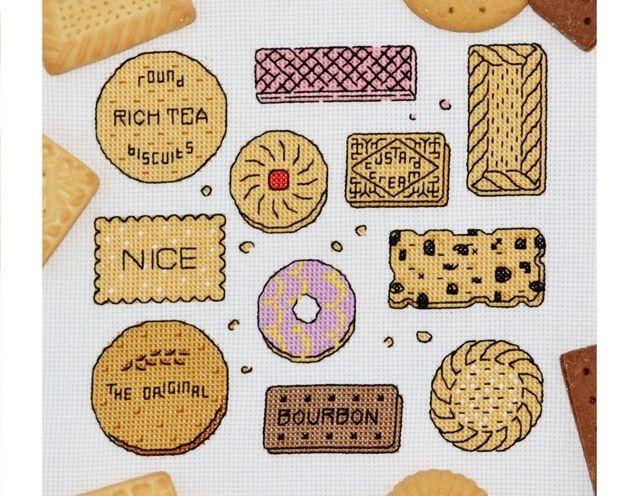 Biscuit Sampler Cross Stitch Kit - Original British Biscuits Modern Cross Stitch…