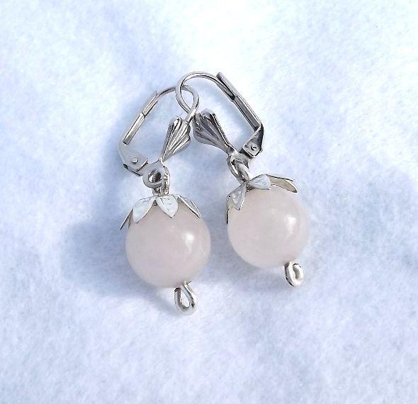 Rose quarts earrings/rózsakvarc fülbevalók