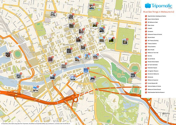 Printable tourist map of Melbourne