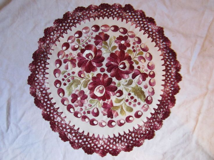 Hungarian Hand Embroidered Matyo Doily Floral Purple & Pink Tablecloth 13"