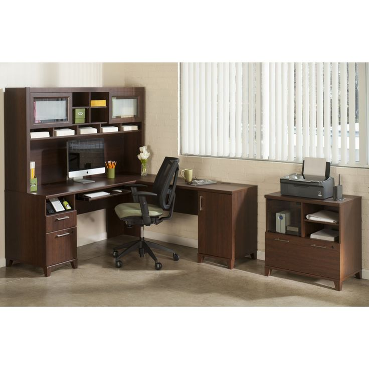 Bush Office Connect Achieve L-Shaped Desk with Hutch and Lateral File - Sweet Cherry - BHI1295