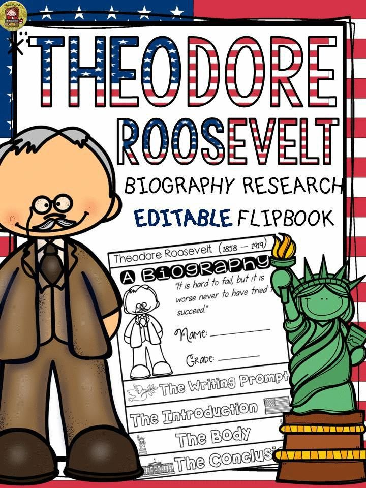 Make research on Theodore Roosevelt interesting and fun with this EDITABLE flipbook organizer. https://www.teacherspayteachers.com/Product/PRESIDENTS-DAY-BIOGRAPHY-THEODORE-ROOSEVELT-2368859