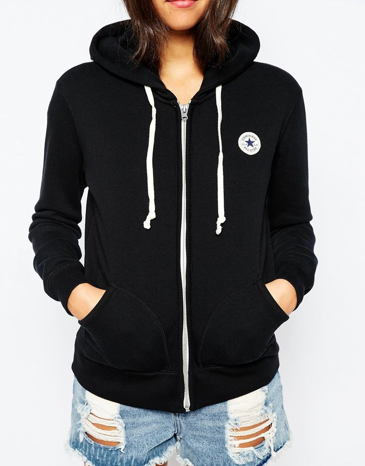 converse zip up hoodie. image 3 of converse zip up hoodie with small front logo tracksuit l