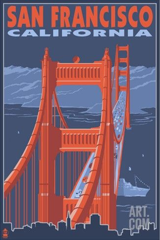 San Francisco, California - Golden Gate Bridge Stretched Canvas Print at Art.com