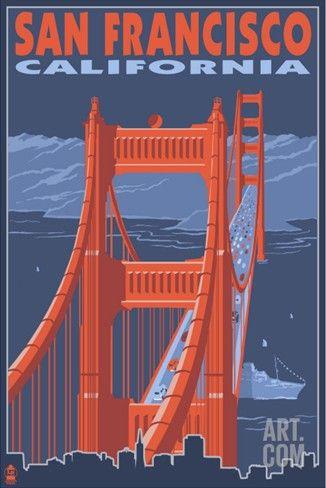 San Francisco, California - Golden Gate Bridge Stretched Canvas Print at Art.com