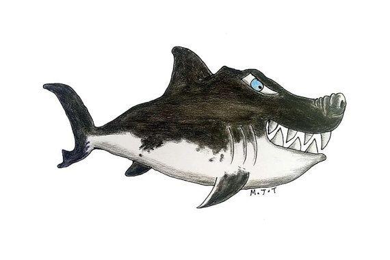 Great white shark illustration cartoon  by littlelemontreeart